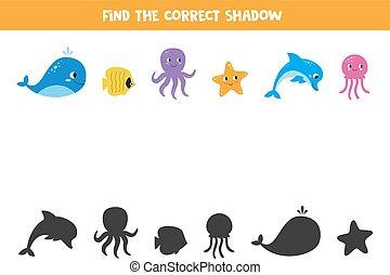 kids., lek, djuren, pictures., hav, shadow., tändsticka, bilda
