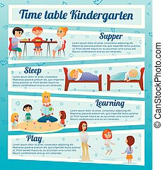 kindergarten, tecken, infographics
