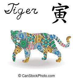 kinesisk, färg, underteckna, tiger, zodiaken, blomningen, geometrisk