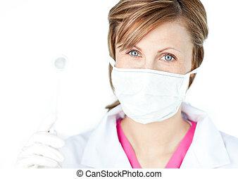 kirurg, kvinnlig, maskera, tröttsam, dental