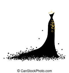 klänning, kväll, svart, hängare