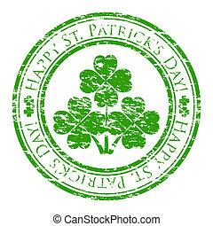 klöver, insida, grunge, stämpel, text, st., isolerat, patrick's, gummi, stamp), skriftligt, vektor, (happy, bakgrund, illustratör, vit, dag, four-leaves