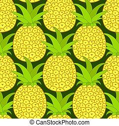klar, tropisk, din, kort, seamless, ananas, vektor, hälsning, bakgrund., pattern., illustration., design