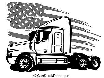 klassisk, amerikan, illustration, flagga, vektor, truck.