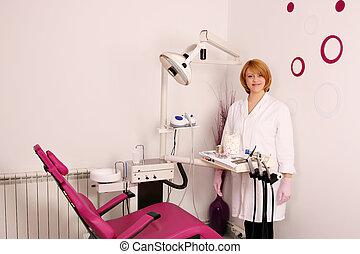 klinik, dental, tandläkare, kvinnlig, lycklig