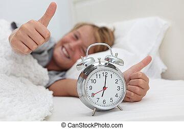 klocka, alarm, uppe, vakande, barn, lycklig