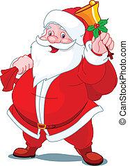 klocka, lycklig, jultomten