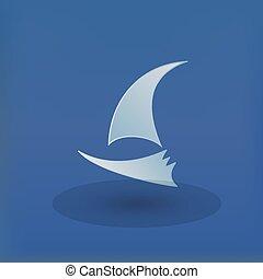 klubba, logo, vektor, yacht