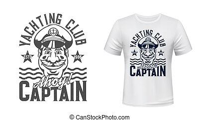 klubba, tryck, segling, kapten, vektor, t-shirt, maskot