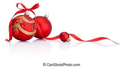 klumpa ihop sig, isolerat, bog, dekoration, band, bakgrund, vit jul, röd