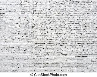knäckt, tegelsten, vita vägg