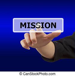 knapp, kvinna, rörande, mission, hand