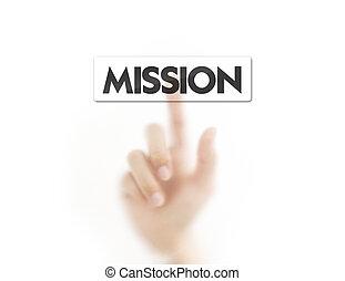 knapp, tränga, finger, mission