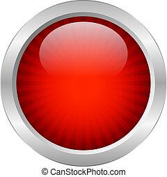 knapp, vektor, röd