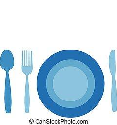 kniv, bakgrund, isolerat, tallrik, gaffel, sked, vit