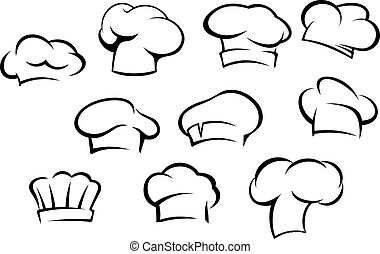 kock, vit, hattar, lock