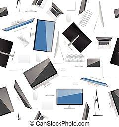 kollektion, dator, seamless, bakgrund