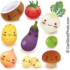 kollektion, frukt, grönsak