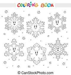 kolorit, snöflingor, book., sätta, tecknad film, kids.