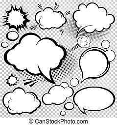 komiker, anförande, bubblar