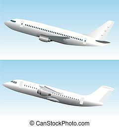 kommersiell, sätta, airplanes, blanc