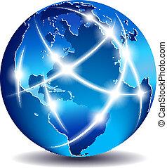 kommunikation, global, värld, handel