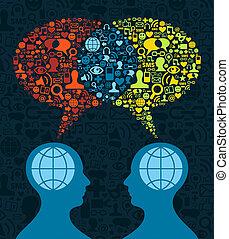 kommunikation, social, hjärna, media