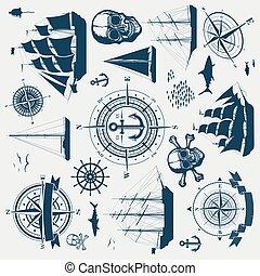 kompass, segla, objekt, nautisk, yachter, design, sänder, sätta
