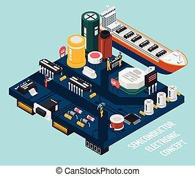 komponenten, elektronisk, halvledare, sjöstad