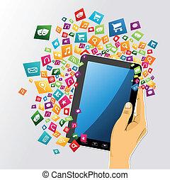 kompress, app, icons., hand, pc, mänsklig, digital