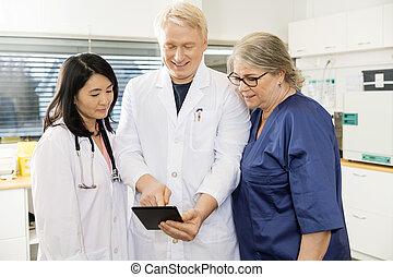 kompress, läkare, digital, klinik, lag, användande