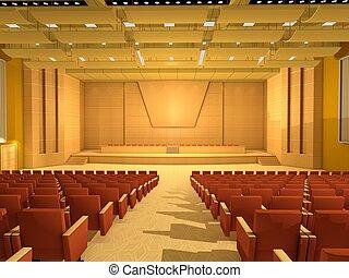 konferens, eller, rum, tom, sal
