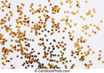 konfetti, gyllene, stjärnor, bakgrund, festlig