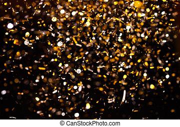 konfetti, gyllene, svart, bakgrund., foto