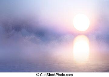 konst, över, vatten, bakgrund, fredlig, mist, soluppgång