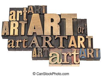 konst, abstrakt, ved, ord, typ
