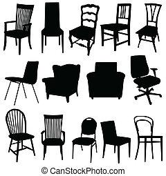 konst färg, illustration, vektor, svart, stol