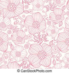 konst, mönster, seamless, bakgrund, fodra, blomningen, röd