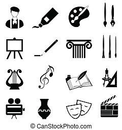 konster, sätta, ikon