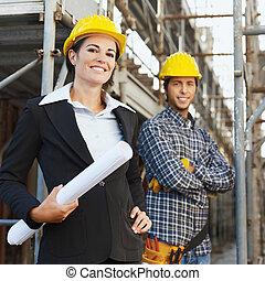 konstruktion, arkitekt, arbetare