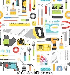 konstruktion, cons, utrustning, hand, bakgrund, style., lägenhet, seamless, redskapen, pattern.