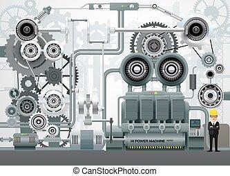 konstruktion, ingenjörsvetenskap, utrustning, vektor, fabrik, industriell, illustration, maskiner