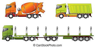 konstruktion, lastbil, virke