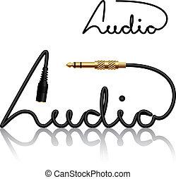 kontakter, vektor, jack, kalligrafi, audio