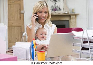 kontor, laptop, telefon, mor, baby, hem