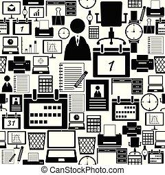 kontor, mönster, equipent, seamless, bakgrund, icon.