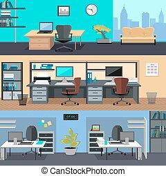 kontor, room., heminredning, illustration