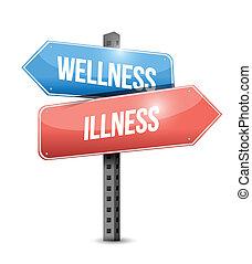 kontra, sjukdom, wellness, illustration, underteckna, väg