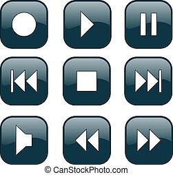 kontroll, knäppas, audio-video