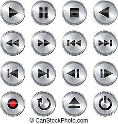 kontroll, multimedia, sätta, icon/button